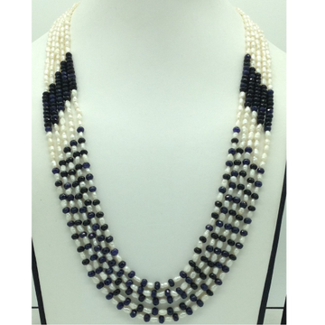 White Rice Pearls with Blue Sapphires 5 Layers Nec...