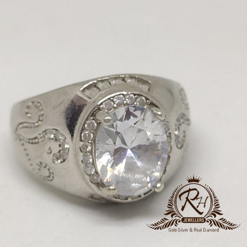 92.5 silver traditional gents ring Rh-Gr961