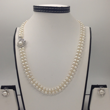White CZ And Pearls BroachSet With 2Line ButtonJali Pearls Mala JPS0228
