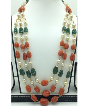 Sea Water Pearls with Corals,Emeralds Gold Taar Ne...