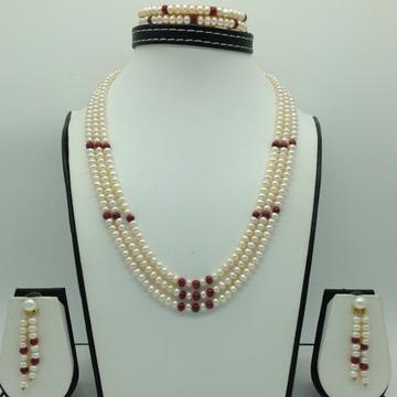 Freshwater White Flat 3Lines Pearls Combination Full Set JPP1063
