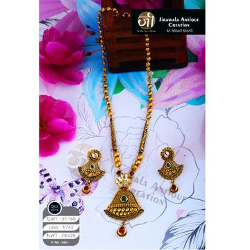 22K Gold Antique Jadtar Long Necklace Set DKG-0015