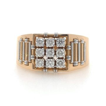 18kt / 750 rose gold masculine diamond gents ring 9gr12