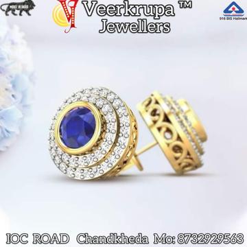 916 GOLD BLUE STONE EARRINGS by