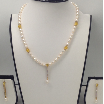 White, YellowCZ And PearlsPendentSet With OvalPearls Mala JPS0087