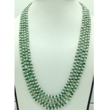 White Flat Pearls with Green Bariels 4 Layers Neck...