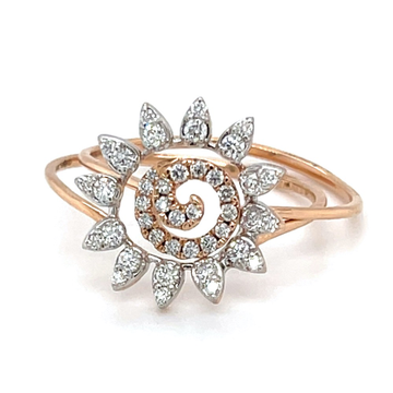 Stackable Diamond Ring with a Flower Motif in 18k Rose Gold 0LR162