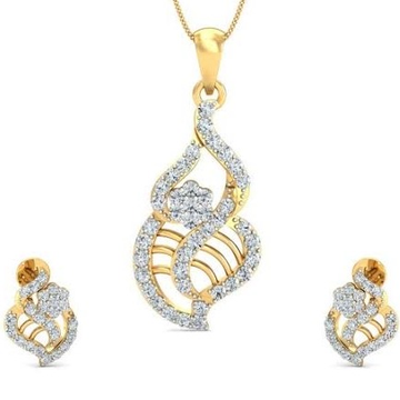 22 Karat, 916 Hall-Marked, Yellow Gold freestyle 8 shape handmade diamond Design Earrings And Pendant Set For Women Jkp005