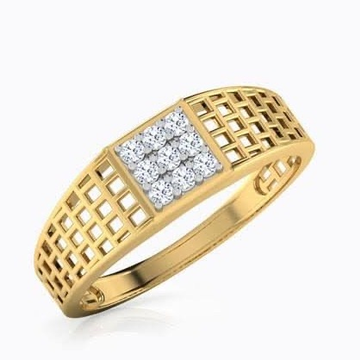 22kt, 916 Hm, Yellow Gold ring with texture and diamonds JKR232.