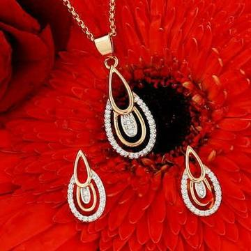18kt rose gold fancy festival oval shaped pendant... by