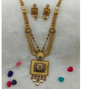 916 gold heavy bridal long necklace set by Ranka Jewellers