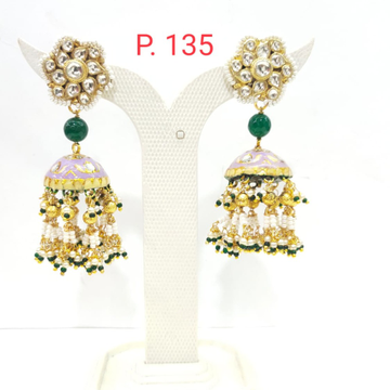 Flower Design Green Bead Jhumka with hanging moti earring 1626