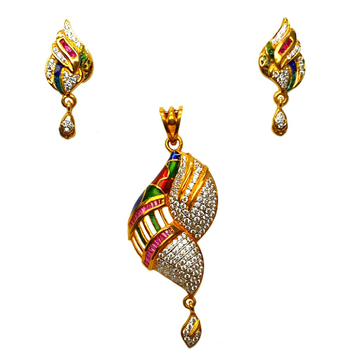 22k gold meenakari pendant set mga - ptg0023