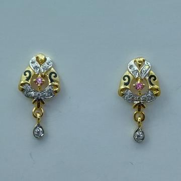 916 hallmark cZ fancy earrings by Shree Sumangal Jewellers