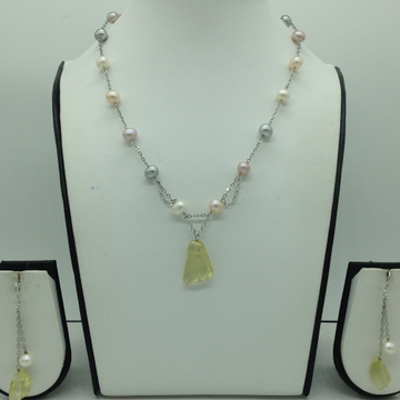 Freshwater MulticolourPearls and Citrine Silver ChainSet JNC0079