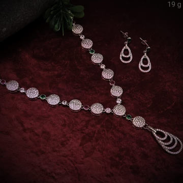 silver fancy ladies necklace set RH-NS931