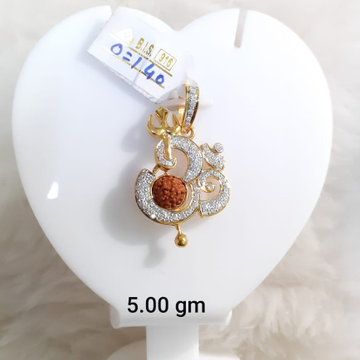 916 Gold CZ Om Design Rudraksh Pendant KG-P04 by