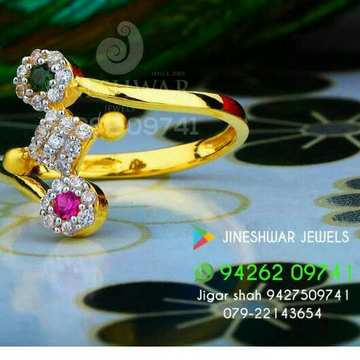 Gold fancy cz ladies ring 916 lrg -0246