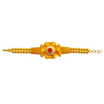 22K Gold Antique Flower Shaped Designer Bracelet MGA - GB0008
