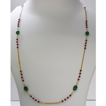 18k gold multicolor chain with panna mani by