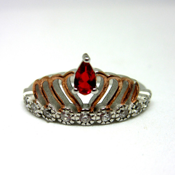 Silver 925 crown ring rose gold polis red stone sr925-135