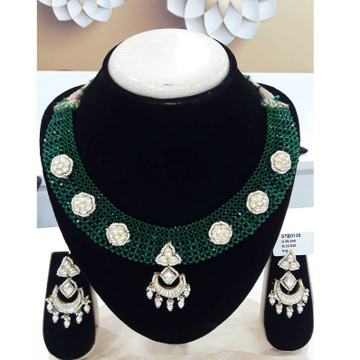 916 Antique Green Mani Moti Jadtar Short Set