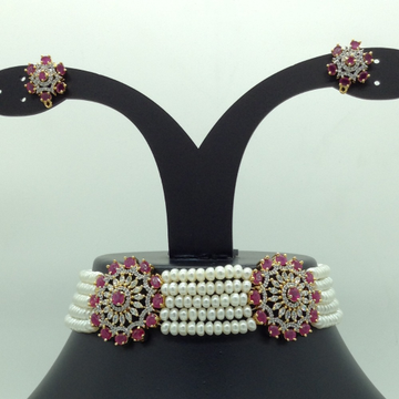 White and red cz choker set with 5 line flat pearl...