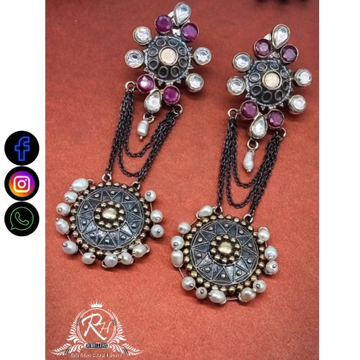silver fancy ladies earrings RH-LE553