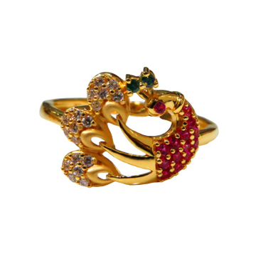 22kt gold casting cz peacock design ladies ring lsr-1