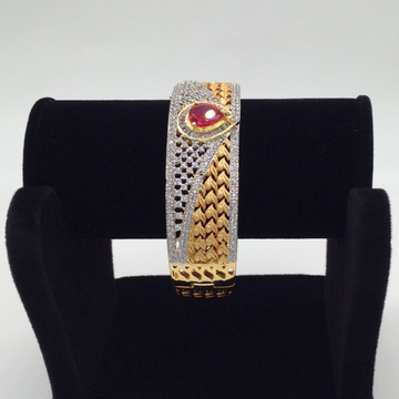 White and red cz openable Kada bracelet jbg0020