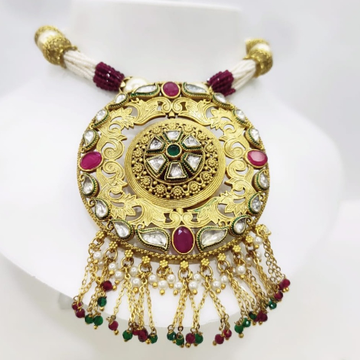 Antique design round shape with hanging string emerald and ruby stone set 1427