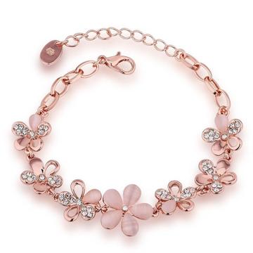 22kt, 916 Hall-Marked, Rose Gold oxalis flower Design Hand Band for women JKB301