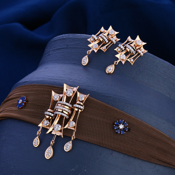 750 Rose Gold CZ  Classic Diamond Necklace Set RN3...