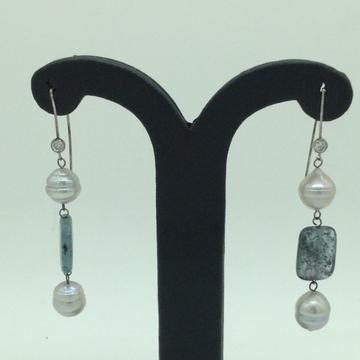 Pearl Semi StoneSilverEar HangingsJER0112