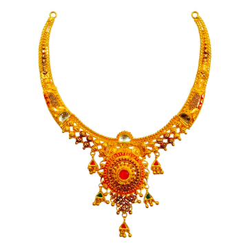 22K Gold Antique Half Necklace MGA - GN0093