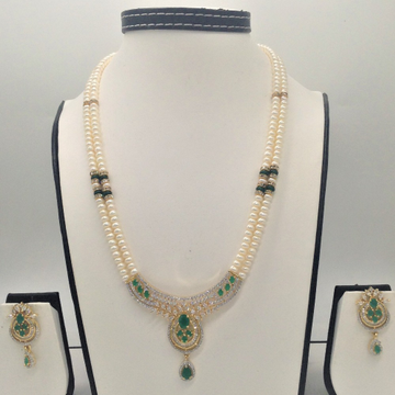 White and green cz pendentset with 2line flatpearls mala jps0319