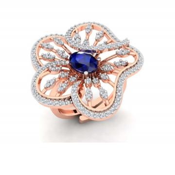 18k gold blue stone flower design ring for women pj-r002