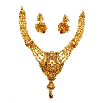 22k Gold Antique Oxidised Designer Necklace Set MGA - GN075
