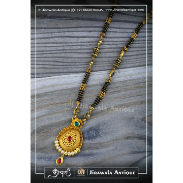 Antique Jadtar 916 Mangalsutra With Round 4 Line Black Beats Lines