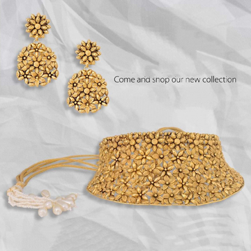 22KT yellow Gold Handcrafted jewellery With Flair Elegance For Bride