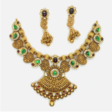 916 Gold Antique Bridal Necklace Set RHJ-6024