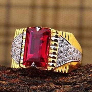 916 Gold ruby Gents Rings