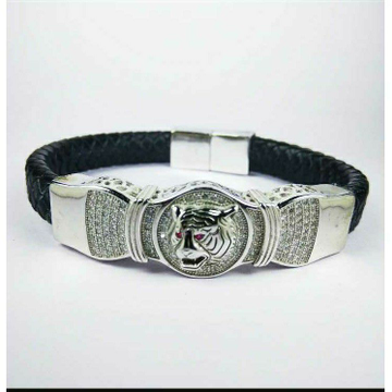 Fancy 925 Silver Gents Leather Bracelet