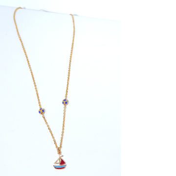18KT Yellow Gold baby chain with Boat Pendant For Kids CHG0335