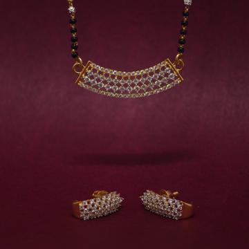 916 hallmarked attractive gemstone mangalsutra pen... by Simandhar Jewellers