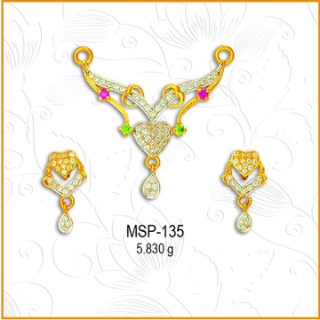 916 Gold Heart Design CZ Mangalsutra Pendant Set MSP-135
