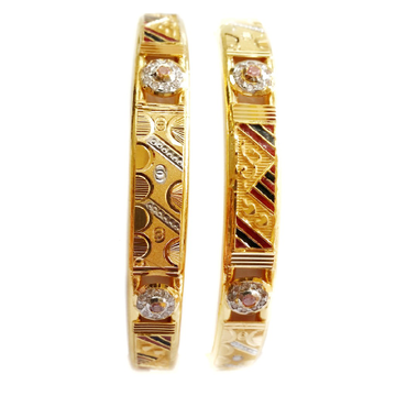 22k Gold CZ Diamond Meenakari Copper Kadli bangles MGA - GK012