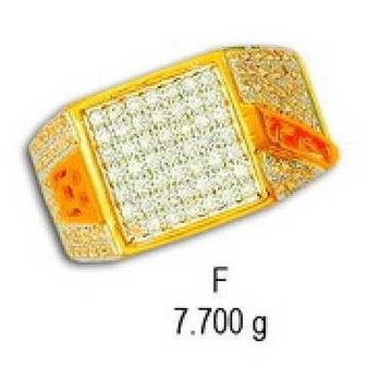22kt Gold Designer Gents Ring CZ