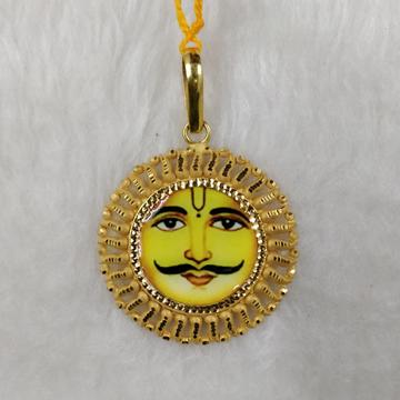 916 Gold Gent's Surya Dev Photo mina Pendant