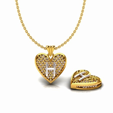 916 Gold CZ Heart Shape H Alphabet Pendant Chain S... by S. O. Gold Private Limited